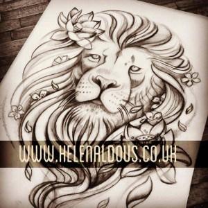 lion flowers tattoo design huddersfield